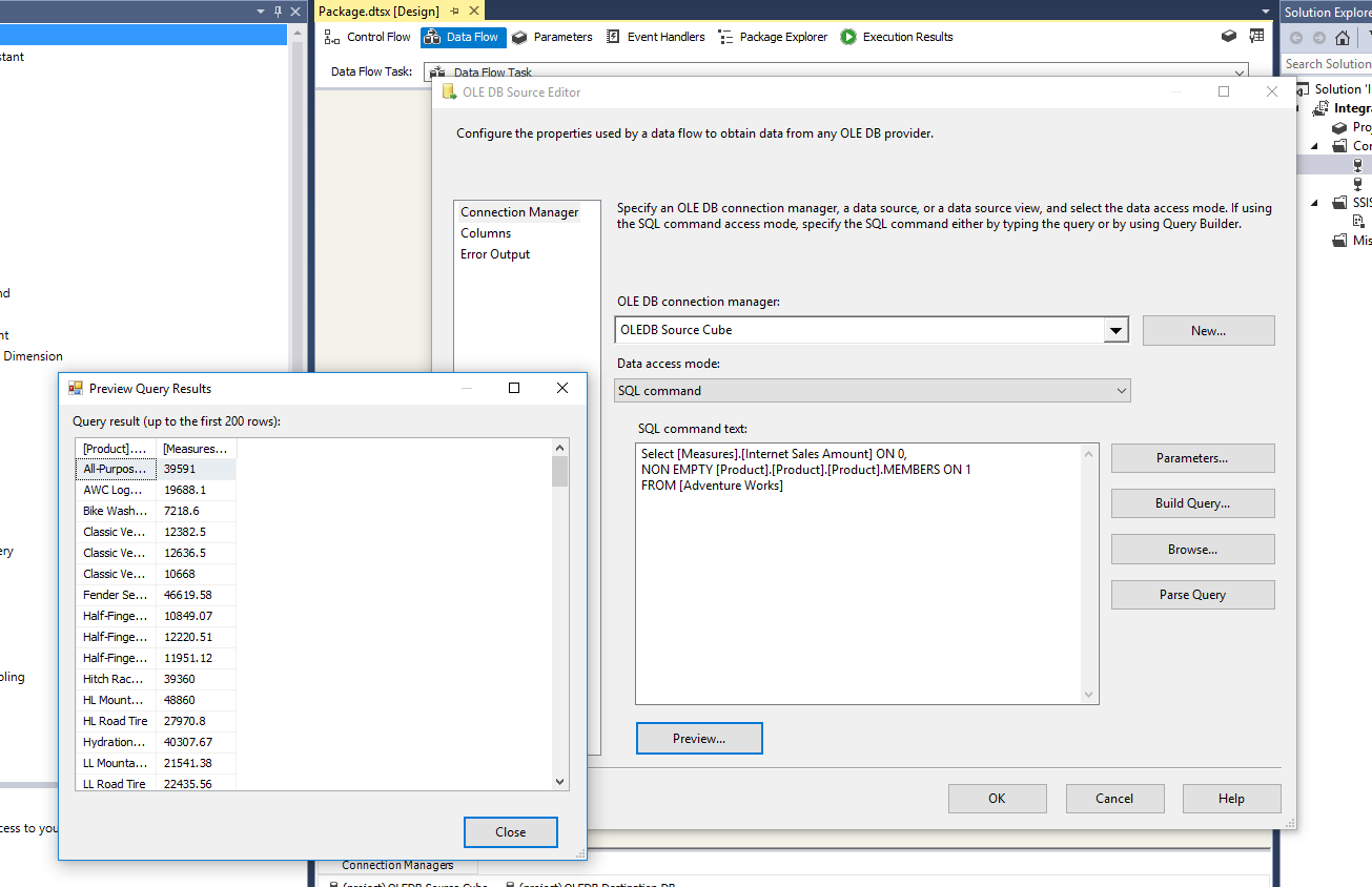 SSIS: Extract data from the cube (via MDX) fails, OLEDB extended